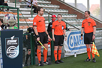 referee Viki De Cremer with assistant referee Toon Bonduel and Thomas Sanders  pictured during a female soccer game between SV Zulte - Waregem and White Star Woluwe on the 10 th and last matchday in play off 2 of the 2020 - 2021 season of Belgian Scooore Womens Super League , saturday 29 of May 2021  in Zulte , Belgium . PHOTO SPORTPIX.BE | SPP | DIRK VUYLSTEKE