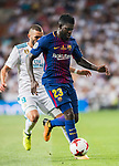 Samuel Umtiti (r) of FC Barcelona fights for the ball with Karim Benzema of Real Madrid during their Supercopa de Espana Final 2nd Leg match between Real Madrid and FC Barcelona at the Estadio Santiago Bernabeu on 16 August 2017 in Madrid, Spain. Photo by Diego Gonzalez Souto / Power Sport Images