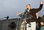 Presidential candidate Andres Manuel Lopez Obrador gives a speech during a rally in front of the Federal Electoral Tribunal (TRIFE), August 7, 2006. Lopez Obrador staged a protest in front of the TRIFE to keep up pressure on authorities, after they voted on Saturday to recount ballots in just over 9 percent of the country's polling places. Photo by Heriberto Rodriguez.