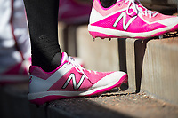 Modesto Nuts players wear pink cleats in honor of Mother's Day during a California League game against the Lake Elsinore Storm at John Thurman Field on May 13, 2018 in Modesto, California. Lake Elsinore defeated Modesto 4-3. (Zachary Lucy/Four Seam Images)