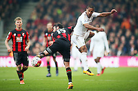 Wayne Routledge of Swansea City wins the ball during the Barclays Premier League match between AFC Bournemouth and Swansea City played at The Vitality Stadium, Bournemouth on March 11th 2016