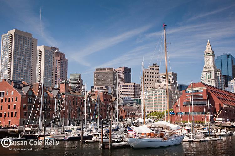 The Boston Harbor skyline frames the Boston Waterboat Marina, Boston, MA, USA