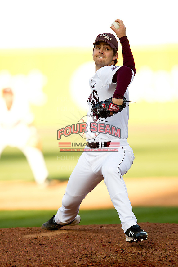 Clay Murphy (8) of the Missouri State Bears delivers a pitch during a game against the Oklahoma State Cowboys at Hammons Field on March 6, 2012 in Springfield, Missouri. (David Welker / Four Seam Images).