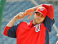 15 June 2012: Washington Nationals outfielder Bryce Harper stretches out prior to a game against the New York Yankees at Nationals Park in Washington, DC. The Yankees defeated the Nationals 7-2 in the first game of their 3-game series. Mandatory Credit: Ed Wolfstein Photo