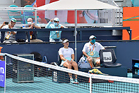 MIAMI GARDENS, FLORIDA - APRIL 03: (NO SALES TO NEW YORK POST) Ashleigh Barty of Australia defeats Bianca Andreescu of Canada during the women's singles final at the Miami Open at Hard Rock Stadium. Bianca Andreescu breaks down and cries when she is forced to withdraw due to an ankle injury on April 03, 2021 in Miami Gardens, Florida.<br /> <br /> <br /> People:  Bianca Andreescu Credit: hoo-me / MediaPunch