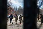 National Guard troops stand guard during the 59th inaugural ceremony for President Joe Biden and Vice President Kamala Harris on Wednesday, January 20, 2021 in Washington D.C.. Biden succeeds President Donald Trump to serve as the 46th President of the U.S., as Harris becomes the first female Vice President.  Photograph by Michael Nagle