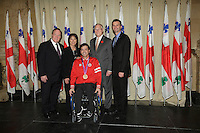 October 29 2012 - Montreal, Quebec, CANADA - Gerald Tremblay, Mayor of Montreal receive at City Hall  local athletes who took part in London 2012  Olympics and Paralympics games.IN PHOTO : Mario Dispaltro