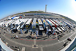 A fish eye lense views of the pit areas during the Continental Tire Challenge race at the Circuit of the Americas race track in Austin,Texas...