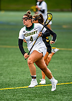 17 April 2021: University of Vermont Catamount Defender Jessica English, a Senior from Smithtown, NY, in action against the UMBC Retrievers at Virtue Field in Burlington, Vermont. The Lady Cats fell to the Retrievers 11-8 in the America East Women's Lacrosse matchup. Mandatory Credit: Ed Wolfstein Photo *** RAW (NEF) Image File Available ***
