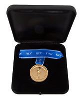BNPS.co.uk (01202) 558833.<br /> Pic: Julien's Auctions/BNPS<br /> <br /> Pictured: Also in the sale is an unnamed French player's winner's medal from the 2018 World Cup in Russia. <br /> <br /> Iconic sports memorabilia including Zinedine Zidane's FIFA World Cup France 98 final shirt has emerged for sale.<br /> <br /> The legendary French footballer wore the classic blue Adidas shirt while scoring two headers in his nation's 3-0 win over Brazil at the Stade de France in Paris.<br /> <br /> The signed shirt, which is embroidered 'Brasil France 12-07-98', is tipped to fetch £90,000 with US based Julien's Auctions, of California.<br /> <br /> Also going under the hammer is Diego Maradona's Argentina shirt for their World Cup 1990 clash against Brazil, which is valued at £45,000.<br /> <br /> One of the marquee lots is basketball superstar Michael Jordan's 1992 Barcelona Olympics 'Dream Team' US vest that could go for £35,000.