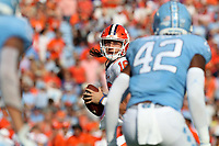 CHAPEL HILL, NC - SEPTEMBER 28: Trevor Lawrence #16 of Clemson University looks to pass during a game between Clemson University and University of North Carolina at Kenan Memorial Stadium on September 28, 2019 in Chapel Hill, North Carolina.