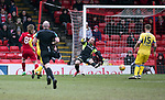 Aberdeen v St Johnstone…31.03.18…  Pittodrie    SPFL<br />Stevie May scores Aberdeen's second goal<br />Picture by Graeme Hart. <br />Copyright Perthshire Picture Agency<br />Tel: 01738 623350  Mobile: 07990 594431
