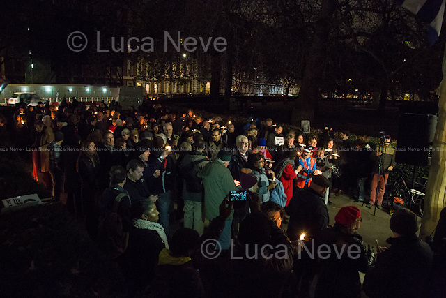 """London, 03/11/2014. Today, the """"Cuba Solidarity Campaign UK"""" supported by Ken Gill Memorial Fund held a candlelight vigil outside the US Embassy in London to mark the 16th anniversary of the arrest of the Miami Five (For more information please click here: http://bit.ly/1ygKBhG & http://bit.ly/1zlqMTF). Numerous speakers from the British and international labour movement attended, amongst others the Doctor Aleida Guevara March, daughter of Ernesto """"Che"""" Guevara de la Serna, Comandante of the Cuban Revolution.<br /> <br /> For more information please click here: http://www.cuba-solidarity.org.uk/"""