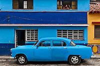 Old blue car.
