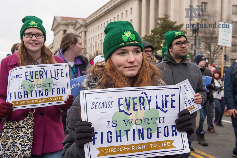 January 27, 2017; Notre Dame students march at the National March for Life in Washington, D.C.  (Photo by Barbara Johnston/University of Notre Dame)