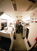 Interior view of the TAGA mobile laboratory used by the Environmental Analysis Center of Quebec (a department of the Ministry of Environment of Quebec) to conduct on site analysis in case of chemical / toxic spills or contaminations.  <br /> Photo : (c) Pierre Roussel, 1999 / AQP