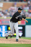 Chicago White Sox relief pitcher Michael Ynoa (66) follows through on his delivery against the Detroit Tigers at Comerica Park on June 2, 2017 in Detroit, Michigan.  The Tigers defeated the White Sox 15-5.  (Brian Westerholt/Four Seam Images)