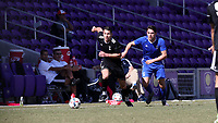 Orlando, Florida - Wednesday January 17, 2018: Ricky Lopez-Espin and Arthur Bosua. Match Day 3 of the 2018 adidas MLS Player Combine was held Orlando City Stadium.