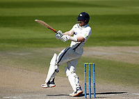 29th May 2021; Emirates Old Trafford, Manchester, Lancashire, England; County Championship Cricket, Lancashire versus Yorkshire, Day 3; Dom Bessof Yorkshire scores runs on the leg side from the bowling of Tom Bailey of Lancashire