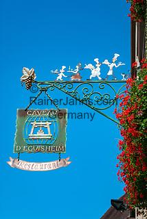 France, Alsace, Haut-Rhin, Guild Sign of a restaurant | Frankreich, Elsass, Haut-Rhin, Zunftschild eines Restaurants