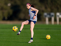 ORLANDO, FL - JANUARY 21: Rose Lavelle #16 of the USWNT takes a shot during a training session at the practice fields on January 21, 2021 in Orlando, Florida.