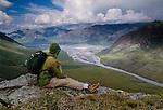 Hiker, Canning River Delta, Arctic National Wildlife Refuge, Alaska
