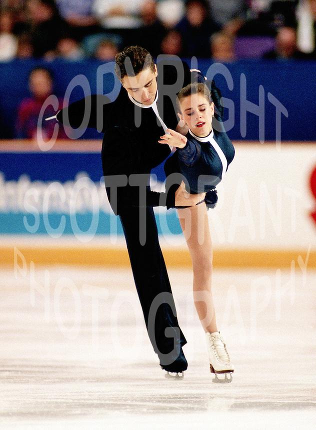 Ekaterina Gordeeva and Sergei Grinkov of Russia compete at the 1993 Skate Canada in Ottawa, Canada. Photo copyright Scott Grant.