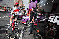 Gianluca Brambilla (ITA/Trek-Segafredo) playing around at the start of teh last stage of the 2019 Vuelta<br /> <br /> Stage 21: Fuenlabrada to Madrid (107km)<br /> La Vuelta 2019<br /> <br /> ©kramon