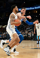 WASHINGTON, DC - FEBRUARY 05: Sandro Mamukelashvili #23 of Seton Hall moves in to defend against Jahvon Blair #0 of Georgetown during a game between Seton Hall and Georgetown at Capital One Arena on February 05, 2020 in Washington, DC.