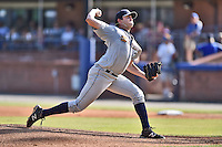 Charleston RiverDogs starting pitcher David Palladino (24) delivers a pitch during a game against the Asheville Tourists on June 13, 2015 in Asheville, North Carolina. The Tourists defeated the RiverDogs 10-6. (Tony Farlow/Four Seam Images)