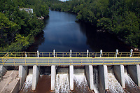 Electrical dam over the Manicouagan river near Baie Comeau City, North of Quebec Province, Canada, North America