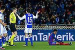 Real Sociedad's Aritz Elustondo (L), and  FC Barcelona's Neymar Santos Jr (R) during the match of Copa del Rey between Real Sociedad and  Futbol Club Barcelona at Anoeta Stadium in San Sebastian, Spain. January 19th 2017. (ALTERPHOTOS/Rodrigo Jimenez)