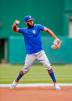 22 September 2018: New York Mets shortstop Amed Rosario takes infield grounders during batting practice prior to a game against the Washington Nationals at Nationals Park in Washington, DC. The Nationals shut out the Mets 6-0 in the 3rd game of their 4-game series. Mandatory Credit: Ed Wolfstein Photo *** RAW (NEF) Image File Available ***