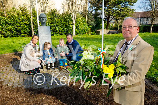 Tommy Collins and his family laying a wreath at the Padraig Pearse memorial in Páirc anPhiarsaigh in Denny Street on Easter Sunday. Front right: Tommy Collins. Back l to r: Aoife, Neasa, Ronan and Brian O'Donoghue.