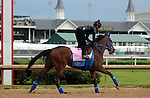 LOUISVILLE, KY - MAY 04:  Cathryn Sophia (Street Boss x Sheave, by Mineshaft)gallops on the track at Churchill Downs with exercise rider Jerry Ortega in preparation for the Kentucky Oaks. Owner Cash Is King LLC, trainer John C. Servis. (Photo by Mary M. Meek/Eclipse Sportswire/Getty Images)