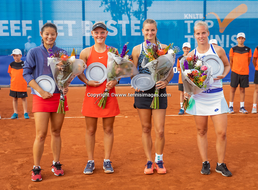 Amstelveen, Netherlands, 1 August 2020, NTC, National Tennis Center, National Tennis Championships, Men's Doubles final:  ltr: Runners up Arianne Hartono (NED) and Suzan Lamens (NED) and the winners Quirine Lemoine (NED) and Richel Hogenkamp (NED)<br /> Photo: Henk Koster/tennisimages.com