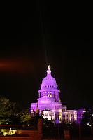 Texas State Capitol floodlit in Purple, Austin, Texas, USA