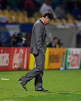 Fabio Capello manager of England hangs his head. USA vs England in the 2010 FIFA World Cup at Royal Bafokeng Stadium in Rustenburg, South Africa on June 12, 2010.