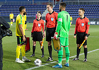 WIENER NEUSTADT, AUSTRIA - MARCH 25: Zack Steffen #1 of the United States takes part in the coin toss during a game between Jamaica and USMNT at Stadion Wiener Neustadt on March 25, 2021 in Wiener Neustadt, Austria.