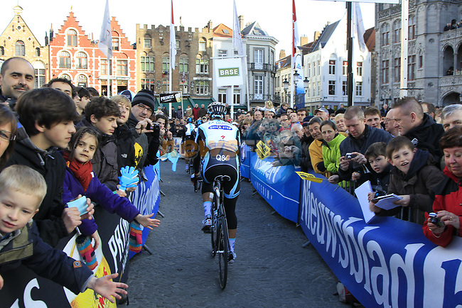 Some of the 25,000 fans gathered for the start of the 96th edition of The Tour of Flanders 2012 in Bruges Market Square, running 256.9km from Bruges to Oudenaarde, Belgium. 1st April 2012. <br /> (Photo by Eoin Clarke/NEWSFILE).