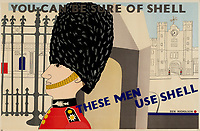 """BNPS.co.uk (01202 558833)<br /> Pic: Lyon&Turnbull/BNPS<br /> <br /> Pictured: """"You can be sure of Shell"""" A guardsman was used on a 1938 poster<br /> <br /> A vast collection of vintage Shell posters have sold at auction for almost £60,000.<br /> <br /> The group of 49 sheets were sold directly from the oil giant's archives and featured some incredibly rare designs from down the years.<br /> <br /> All of the posters had previously been used in Shell advertising campaigns, dating back to between the 1920s and 1950s.<br /> <br /> Many of the colourful designed featured the slogan 'You can be sure of Shell' and list people who preferred their fuel."""