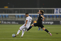 SAN JOSE, CA - SEPTEMBER 13: Sebastian Lletget #17 of the Los Angeles Galaxy is defended by Florian Jungwirth #23 of the San Jose Earthquakes during a game between Los Angeles Galaxy and San Jose Earthquakes at Earthquakes Stadium on September 13, 2020 in San Jose, California.