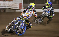 Heat 11: Simon Stead (yellow) and Lewis Bridger (blue) - Lakeside Hammers vs Leicester Lions, Elite League Speedway at the Arena Essex Raceway, Pufleet - 04/04/14 - MANDATORY CREDIT: Rob Newell/TGSPHOTO - Self billing applies where appropriate - 0845 094 6026 - contact@tgsphoto.co.uk - NO UNPAID USE