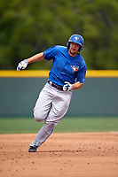 Toronto Blue Jays Ryan Metzier (8) during a minor league Spring Training game against the Pittsburgh Pirates on March 24, 2016 at Pirate City in Bradenton, Florida.  (Mike Janes/Four Seam Images)