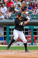 Indianapolis Indians third baseman Max Moroff (2) at bat during an International League game against the Buffalo Bisons on July 28, 2018 at Victory Field in Indianapolis, Indiana. Indianapolis defeated Buffalo 6-4. (Brad Krause/Four Seam Images)