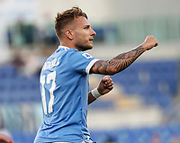 28th August 2021; Olympic Stadium, Rome, Italy; Serie A football, SS Lazio versus AC Spezia : Ciro Immobile of Lazio celebrates after scoring for 3 -1 on 47th minute