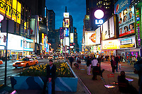 Scene on Times Square, where Broadway and 5th Avenue merge