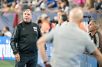 FOXBOROUGH, MA - AUGUST 4: Bruce Arena of New England Revolution looks down the field towards Bob Bradley of Los Angeles FC during a game between Los Angeles FC and New England Revolution at Gillette Stadium on August 3, 2019 in Foxborough, Massachusetts.