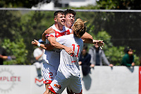 Regont Murati of Waitakere United celebrates a goal with team mates during the ISPS Handa Men's Premiership - Team Wellington v Waitakere Utd at David Farrington Park,Wellington on Saturday 30 January 2021.<br /> Copyright photo: Masanori Udagawa /  www.photosport.nz
