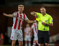 1st October 2021;  Bet365 Stadium, Stoke, Staffordshire, England; EFL Championship football, Stoke City versus West Bromwich Albion; Sam Surridge of Stoke City receives a yellow card